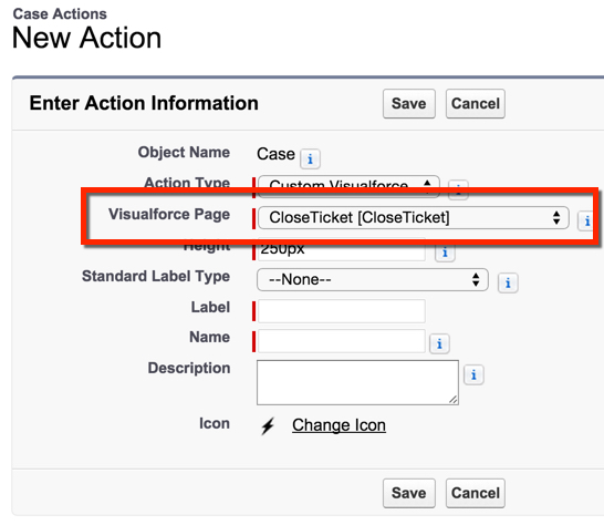 Select the Visualforce Page